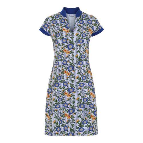 blåmønstret kjole med krave
