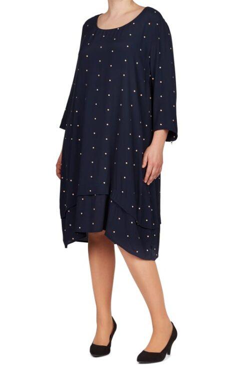Adia kjole, blå med prikker