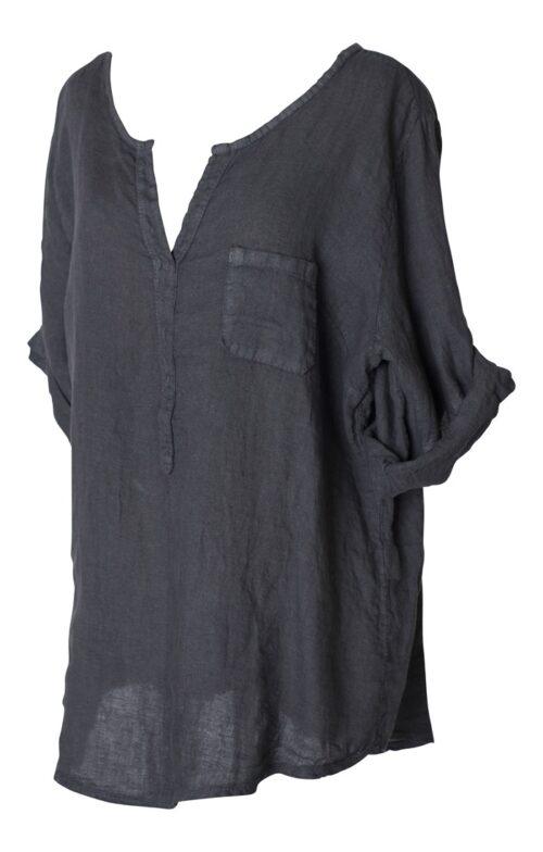 mørkegrå hørskjorte