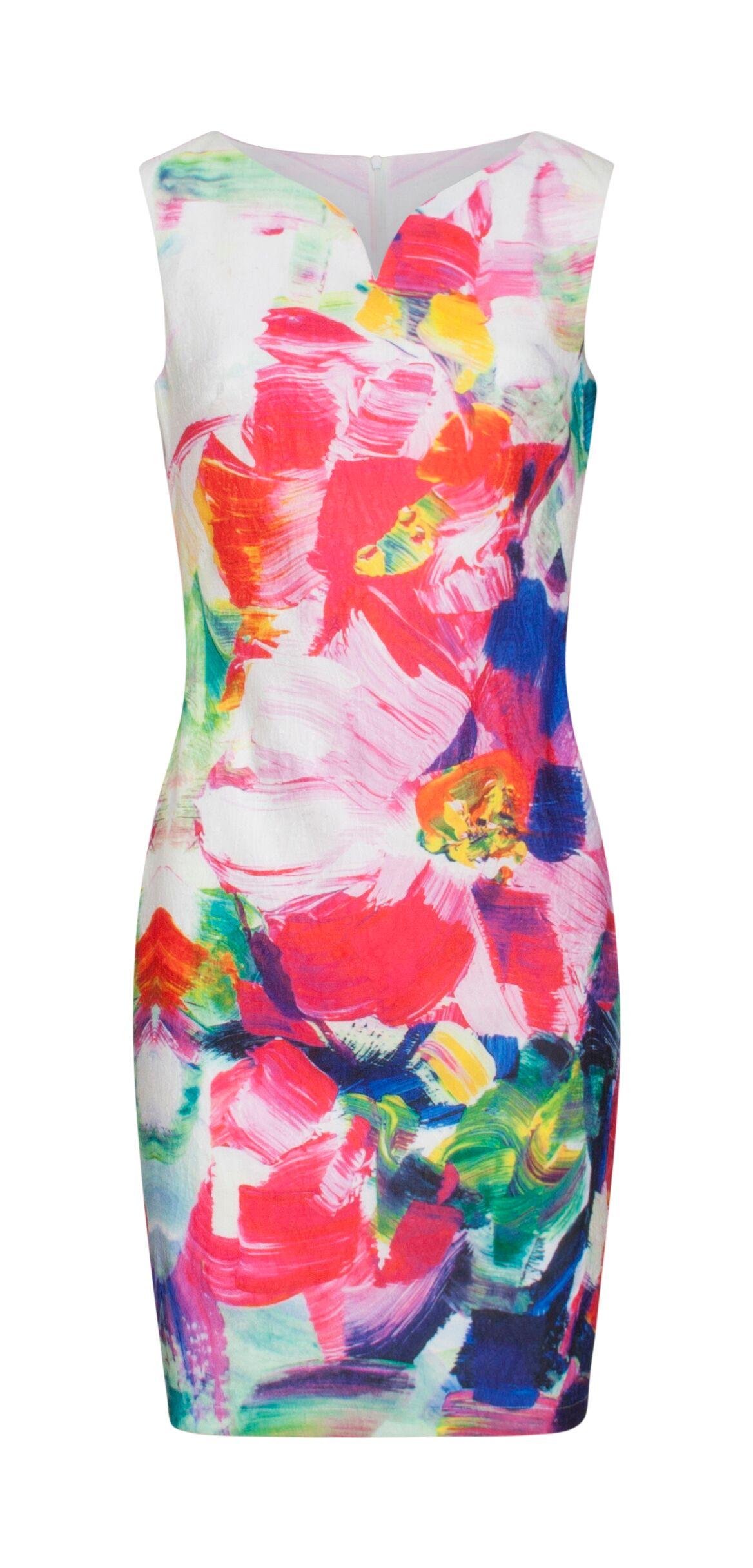 5a2cf384 Farverig sommerkjole   Figursyet kjole uden ærmer   Smashed Lemon