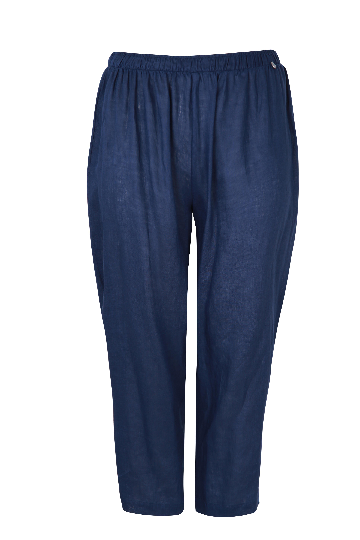 mat harems bukser i hør (blå)