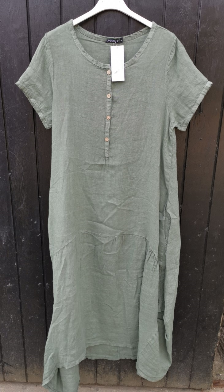e15516620d7 Lang hørkjole grøn | Stort udvalg af flotte og smarte hørkjoler fra ...
