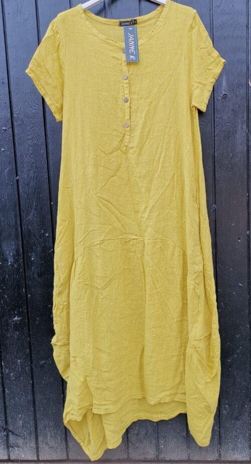 lang hørkjole gul