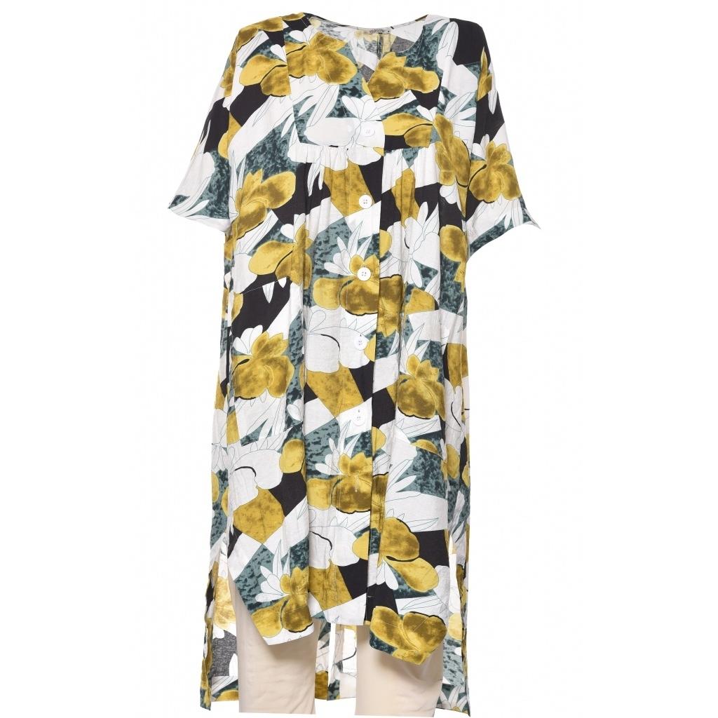 Gozzip skjorte tunika olivenfarvet print