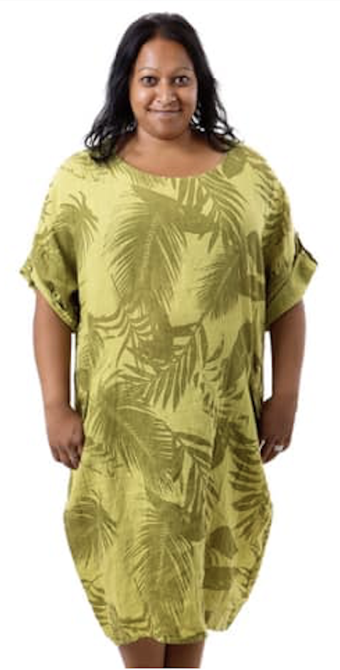 Hør tunika i farven lime grøn