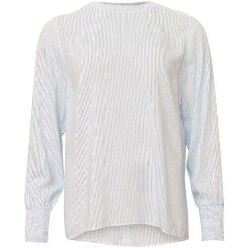 Soulmate bluse lyseblå og hvidstribet