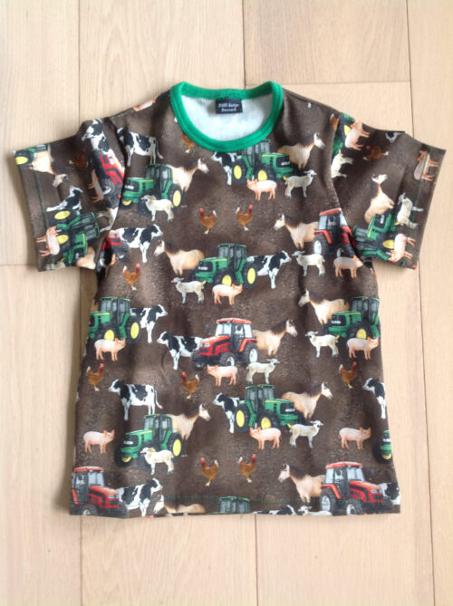 Børne T-shirt med dyr og traktorer