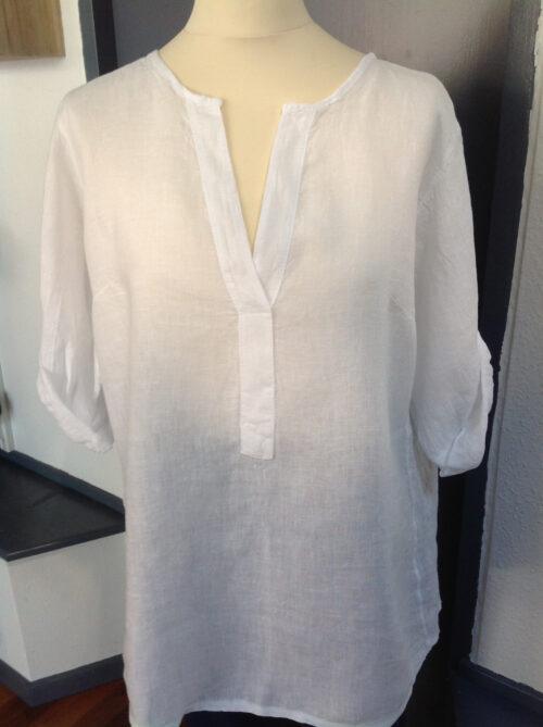 hvid hør skjorte