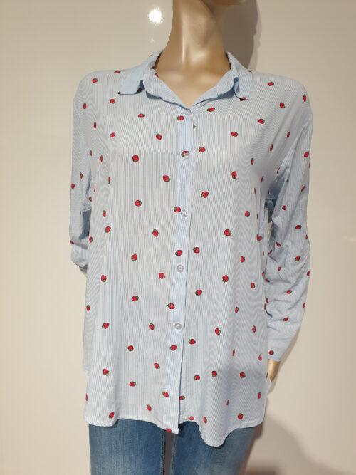 skjorte med jordbærprint