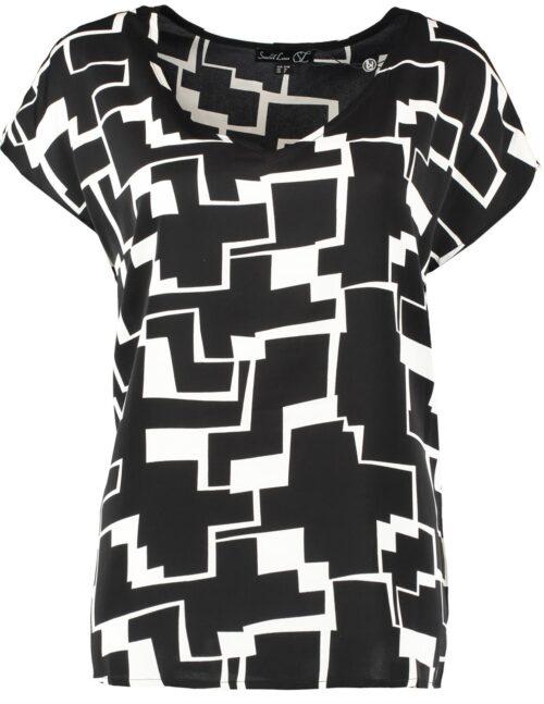 kortærmet bluse med sort hvid print
