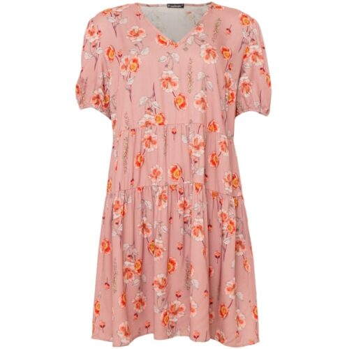 soulmate kjole med rødlige blomster