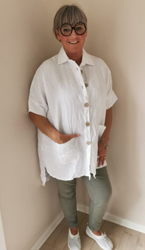 hvid jakke i hør med krave