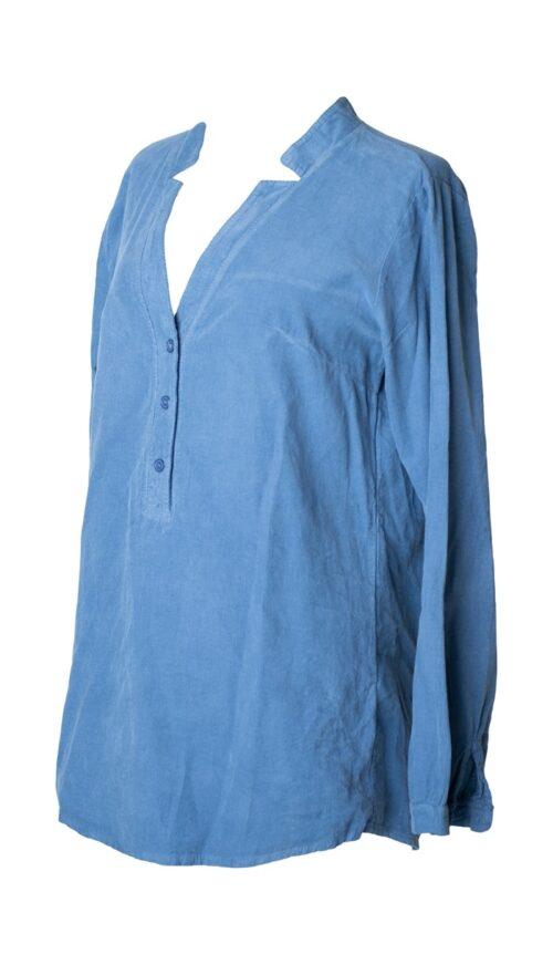 blå fløjls skjorte