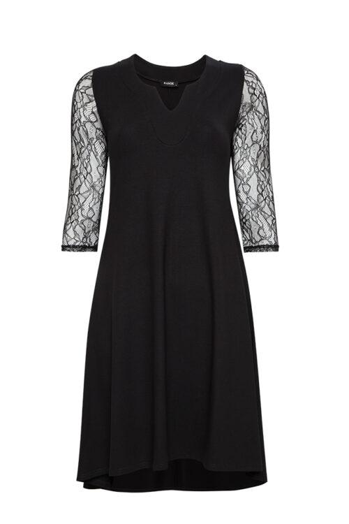 KANOK sort kjole med blonde ærmer