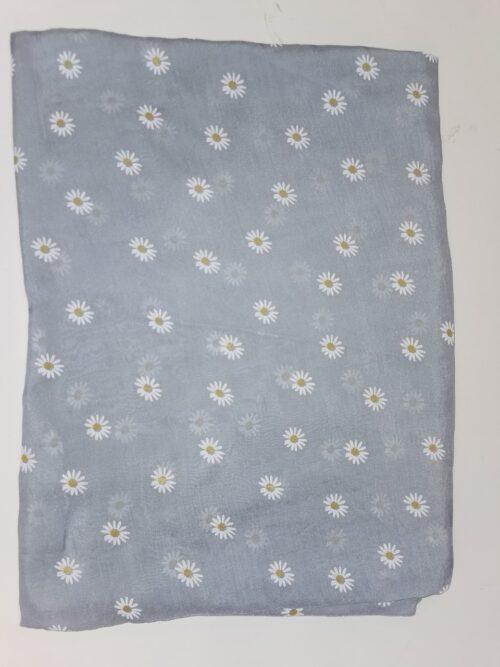 tørklæde i marguerit mønster blå