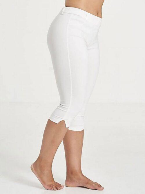 Hvide capri leggings med bæltestropper