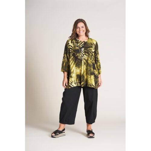 Gozzip bluse batikprint olivenfarver
