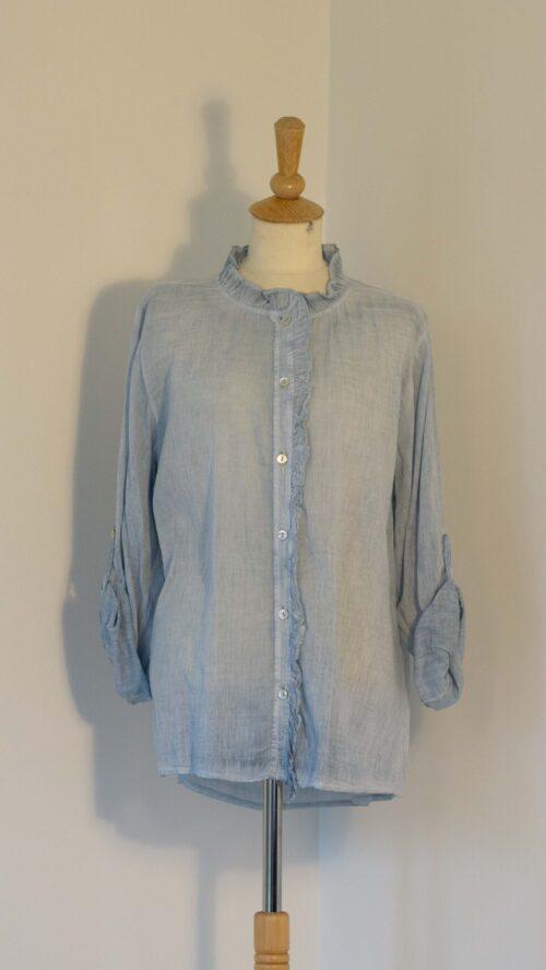 Blå bomuldsskjorte med blonde