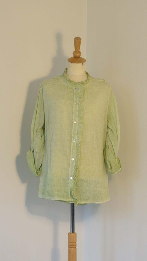 Grøn bomuldsskjorte med blonde