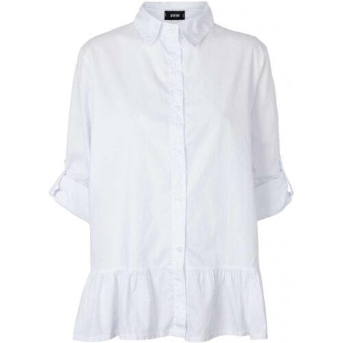 Hvid Define skjorte med flæse nederst