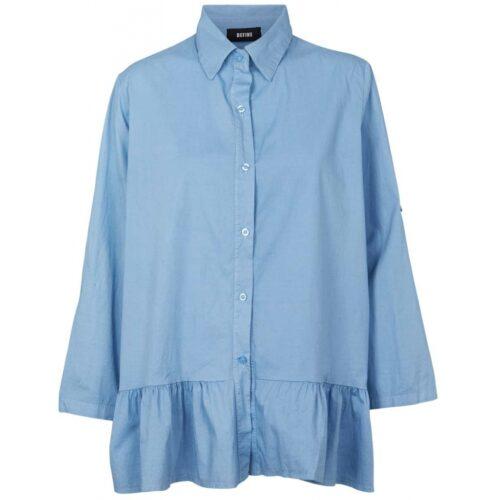 Blå Define skjorte med flæse nederst