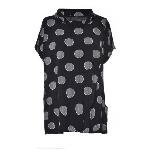 Gozzip bluse sort med hvide prikker