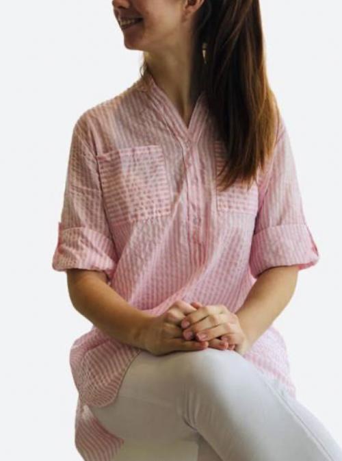Tunika med striber rosa farve