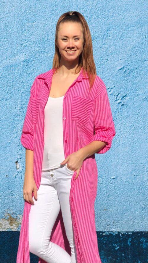 Lang skjorte i pink