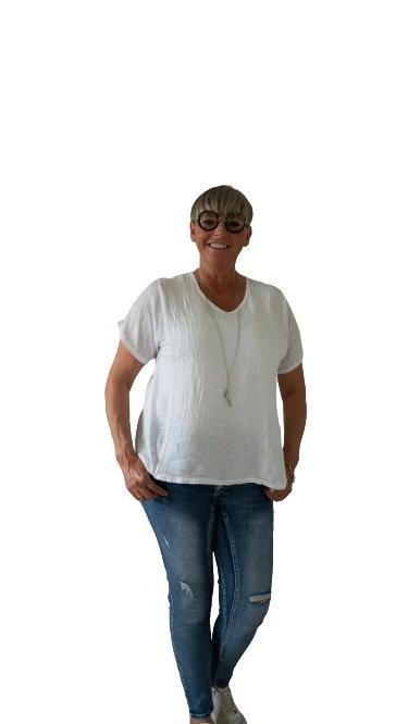 Janne K - T-shirt i hør hvid
