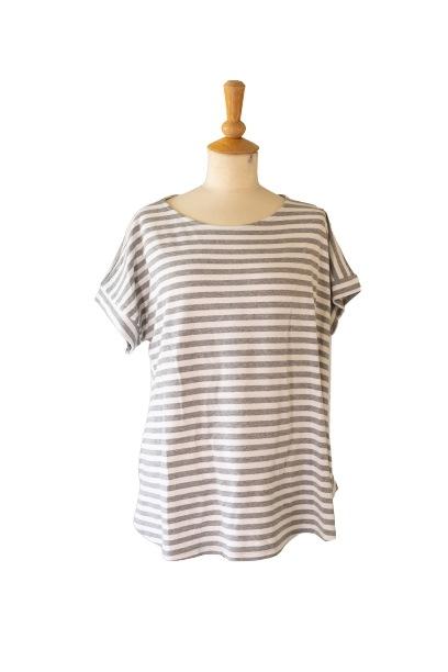 Janne K - T-shirt grå stribet