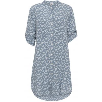 Stajl blå skjortekjole med blomsterprint