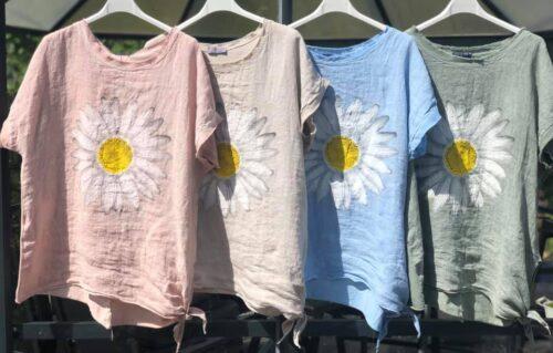 T-shirt i hør med solsikke