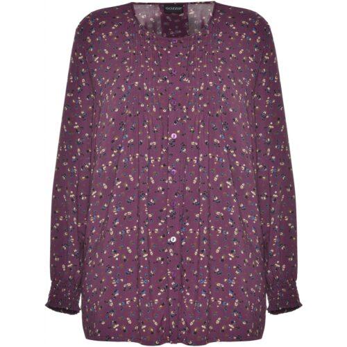 Gozzip bluse med lilla blomsterprint